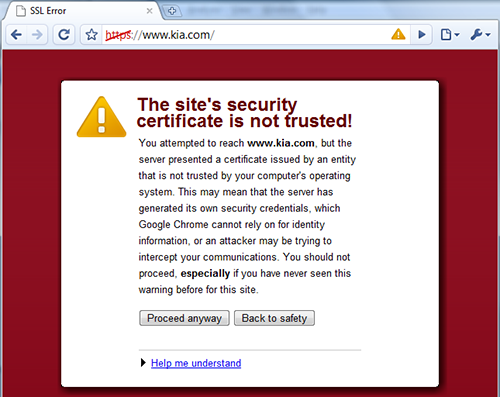 Google secure site warning screen